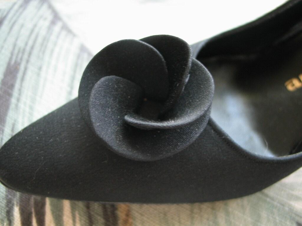 Coupon Code Sale this weekend Exquisite vintage 50's Andrew Geller black cloth high heel sling backs 10 AAA Pristine vintage