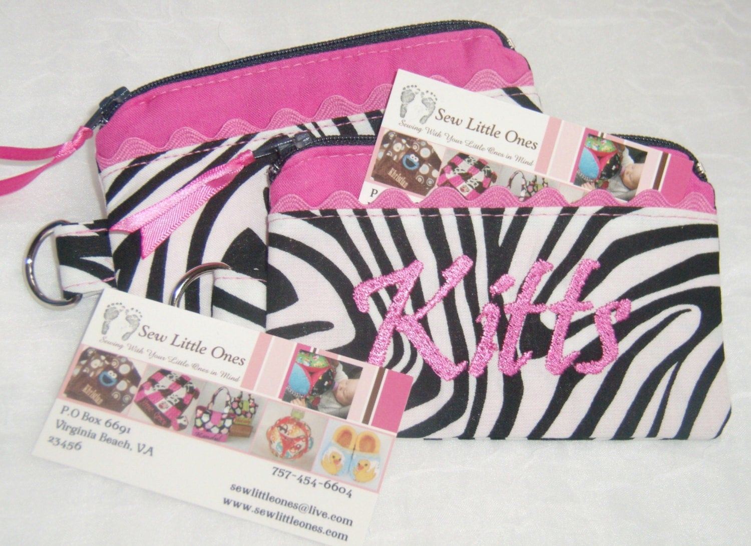 Personalize Hot Pink & Zebra Print Coin Purse - sewlittleones