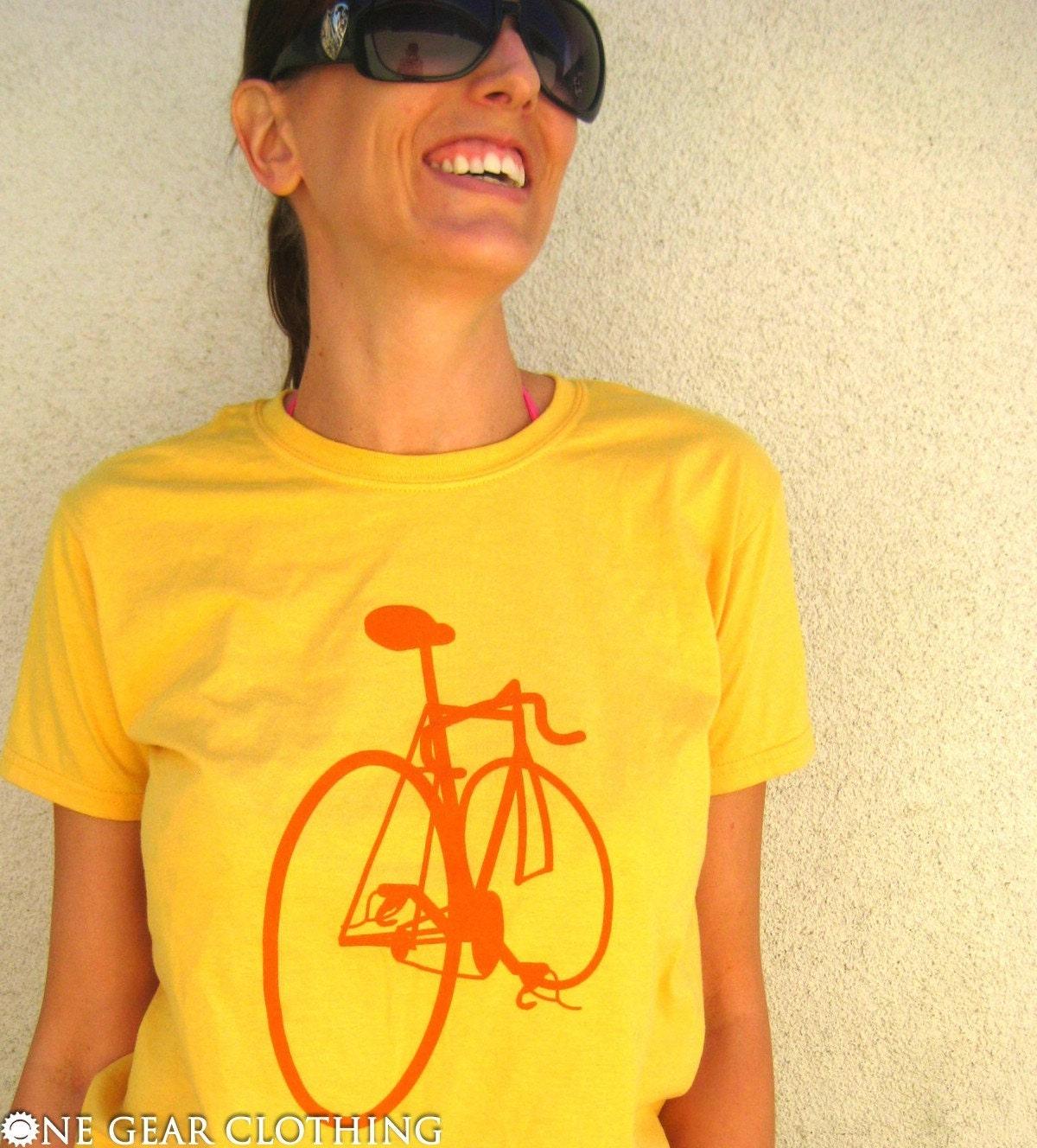 Bike's Got Back - Bicycle tee shirt - Orange on Yellow - Mens / Unisex XL