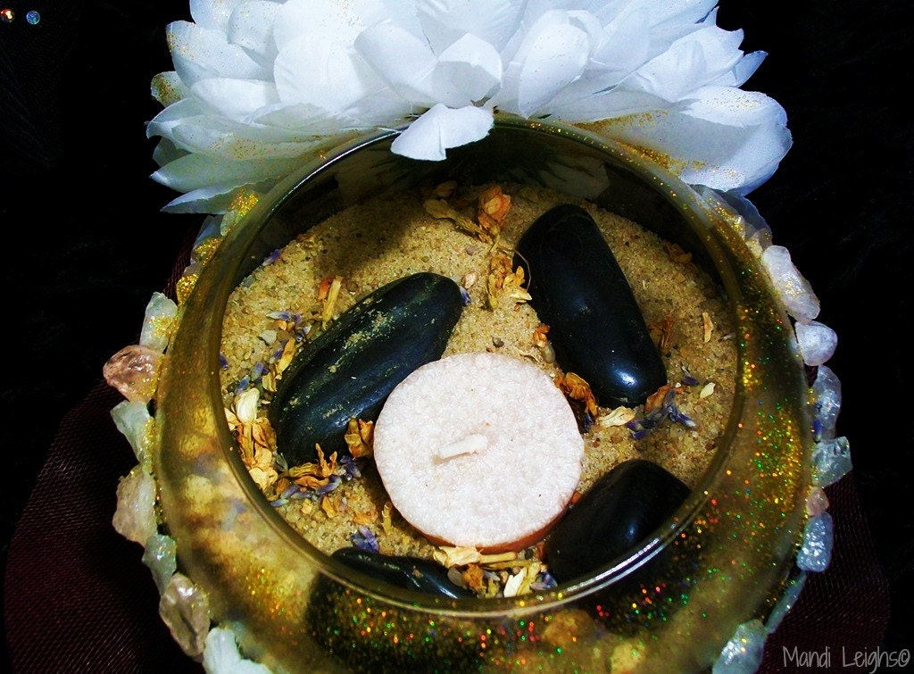 Meditation Floral Glitzy Candle and Incense Bowl No. 1