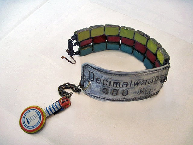 A Happy Song. Victorian Gypsy Rustic Tin Cuff with Tablet Window Colorful Czech Beads..