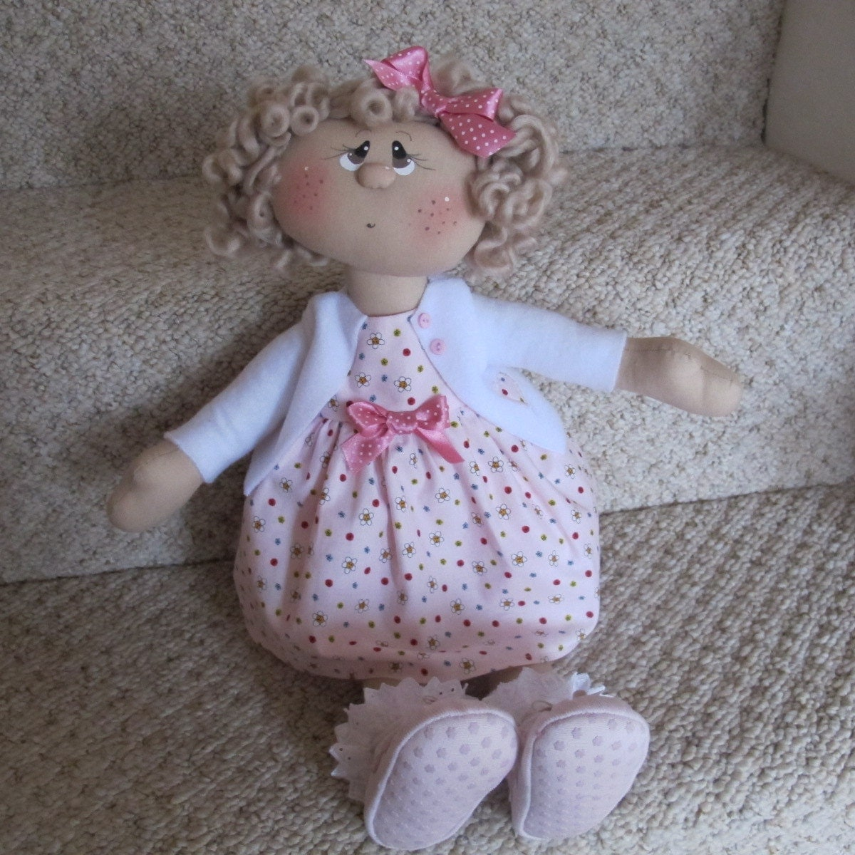 Rag Doll - in Summer dress and cardigan, Custom Made