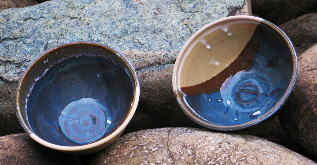 wheel thrown bowls, cone 5, blue hares fur & nutmeg glaze - rikablue