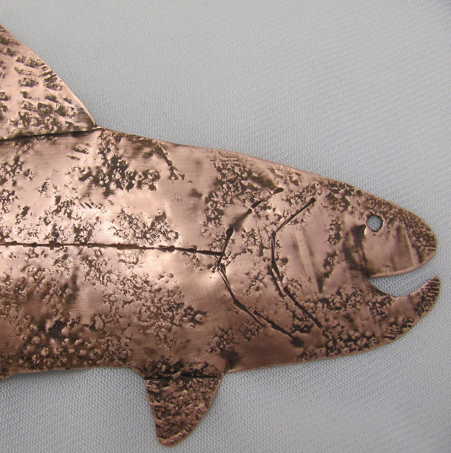 Copper Fish. Wall Hanging, GUY GIFT. Copper Trout, Fish Art Sculpture needs home. - ruddlecottage