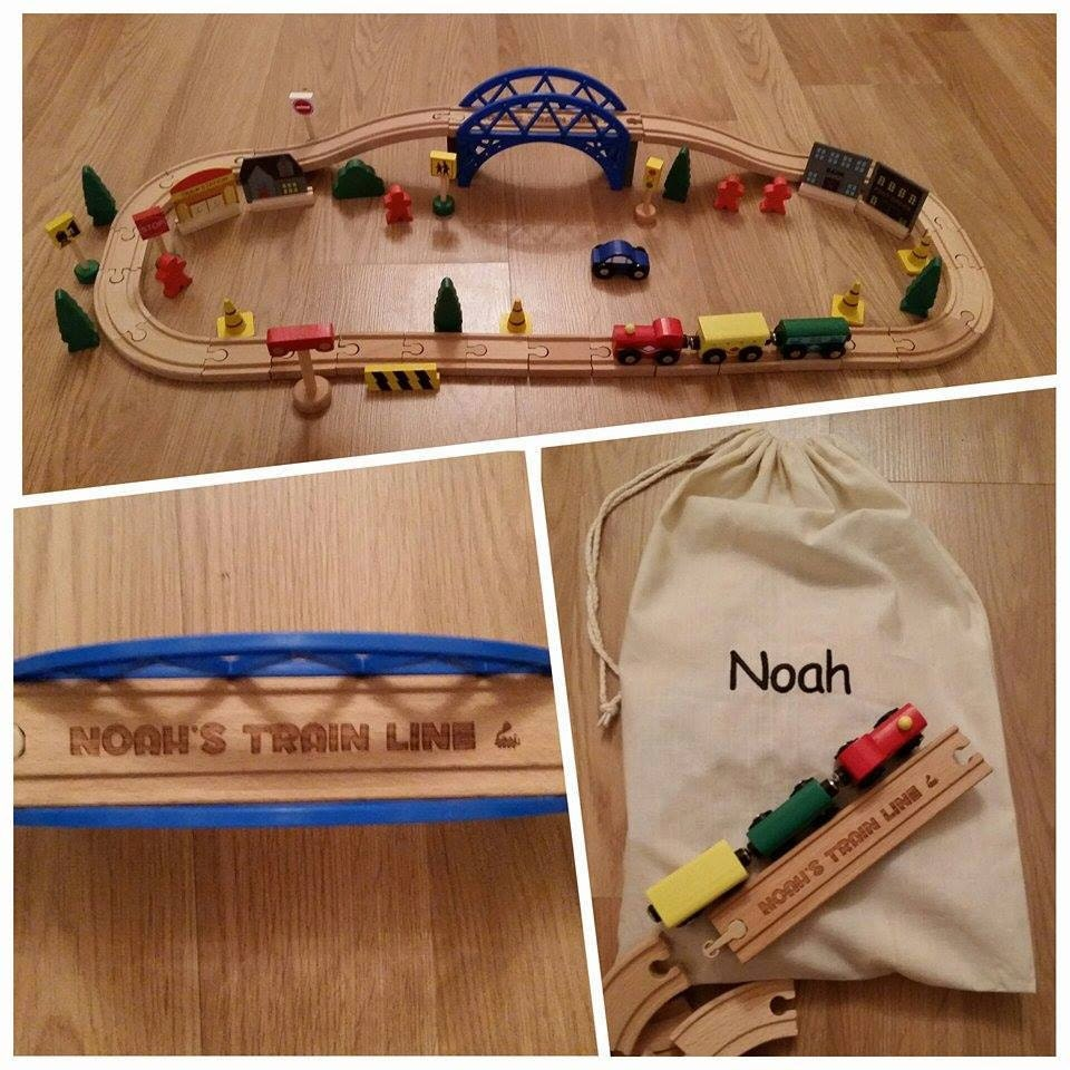 Personalised Train Set Personalised Embroidered Bag Wooden Toy Gifts for Children Preschool Birthday Trains  00066