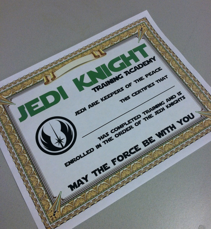 Star wars jedi training certificate hot girls wallpaper for Jedi knight certificate template