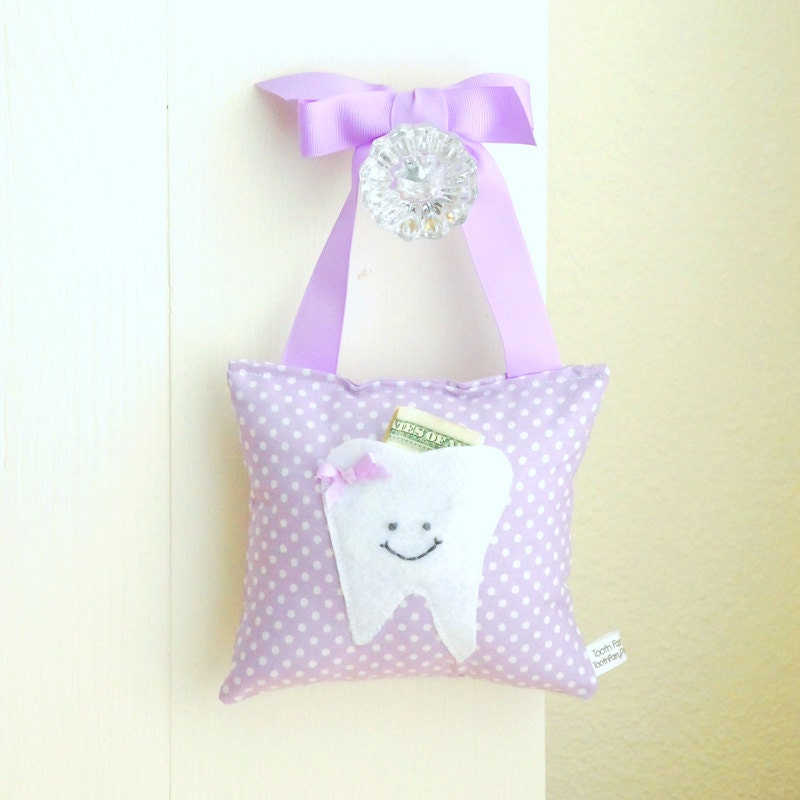 Girls Tooth Fairy Pillow in Sweet Lilac by ToothFairyPillowShop