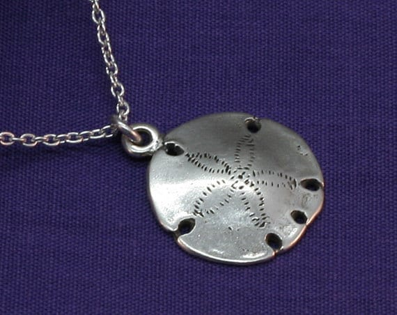 Silver Sand Dollar Necklace Sterling By Micheleposterjewelry