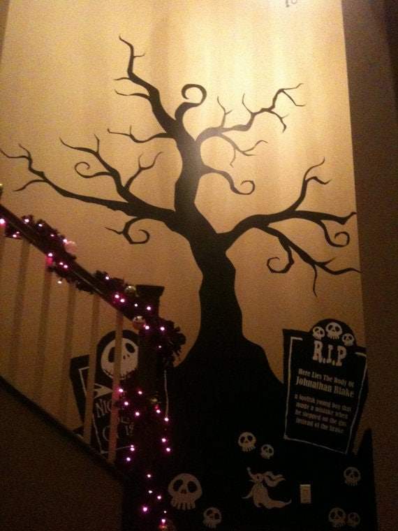 halloween creepy tree wall decal nightmare before by. Black Bedroom Furniture Sets. Home Design Ideas