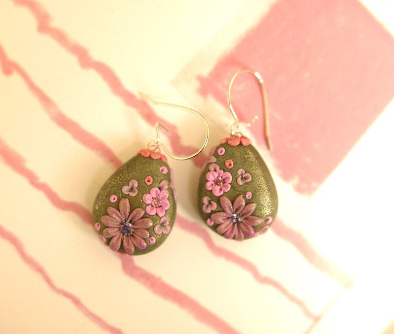 Etsy :: pink posies in the shade of a big mossy tree earrings from etsy.com