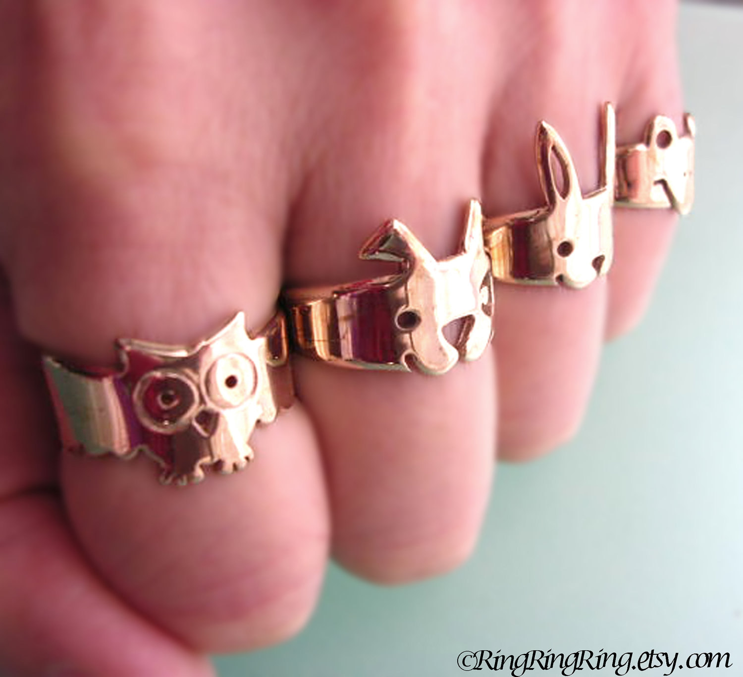 Bronze Adjustable animal ring jewelry, Cute spot dog ring (Matte or Shine)