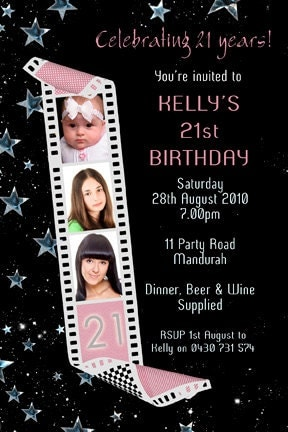 Photo Personalised Filmstrip Birthday Invitations 18th 21st 30th 40th ...