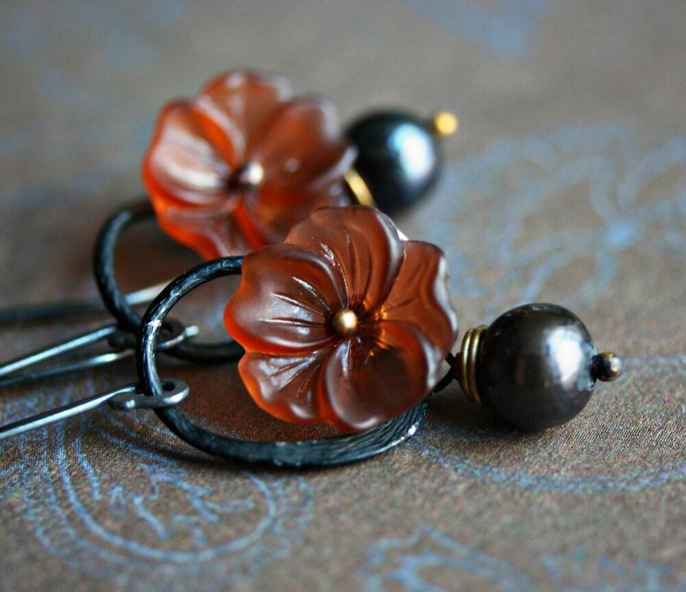Vintage Lucite Flowers, on Fine Silver - Blackwood Blossom Earrings
