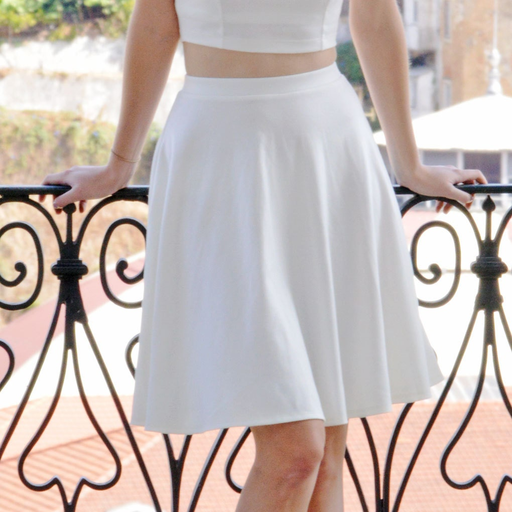 Stylish White Midi Length Floaty Skater Skirt.  Womens White High Waist Knee Length Circle Skirt