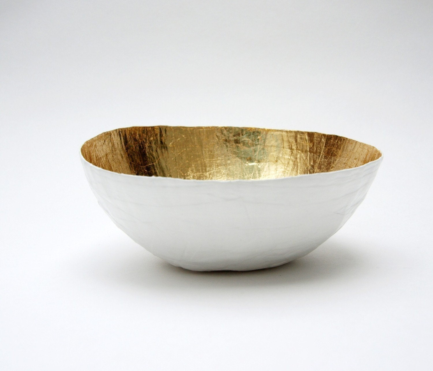 Paper Mache Bowl White and Gold - The Mini