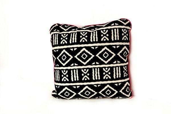 Mudcloth Print Cushion - Throw Pillow (Bundu Fuschia) 20% OFF