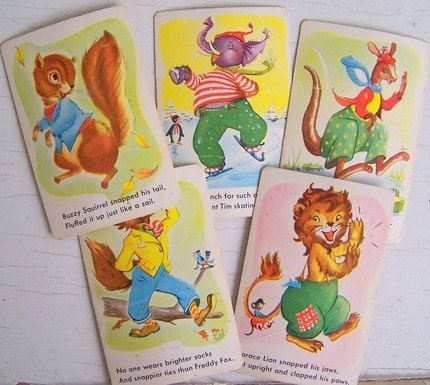 Vintage 1940s Childrens Playing Cards with Animals Oh Snap Set of 11