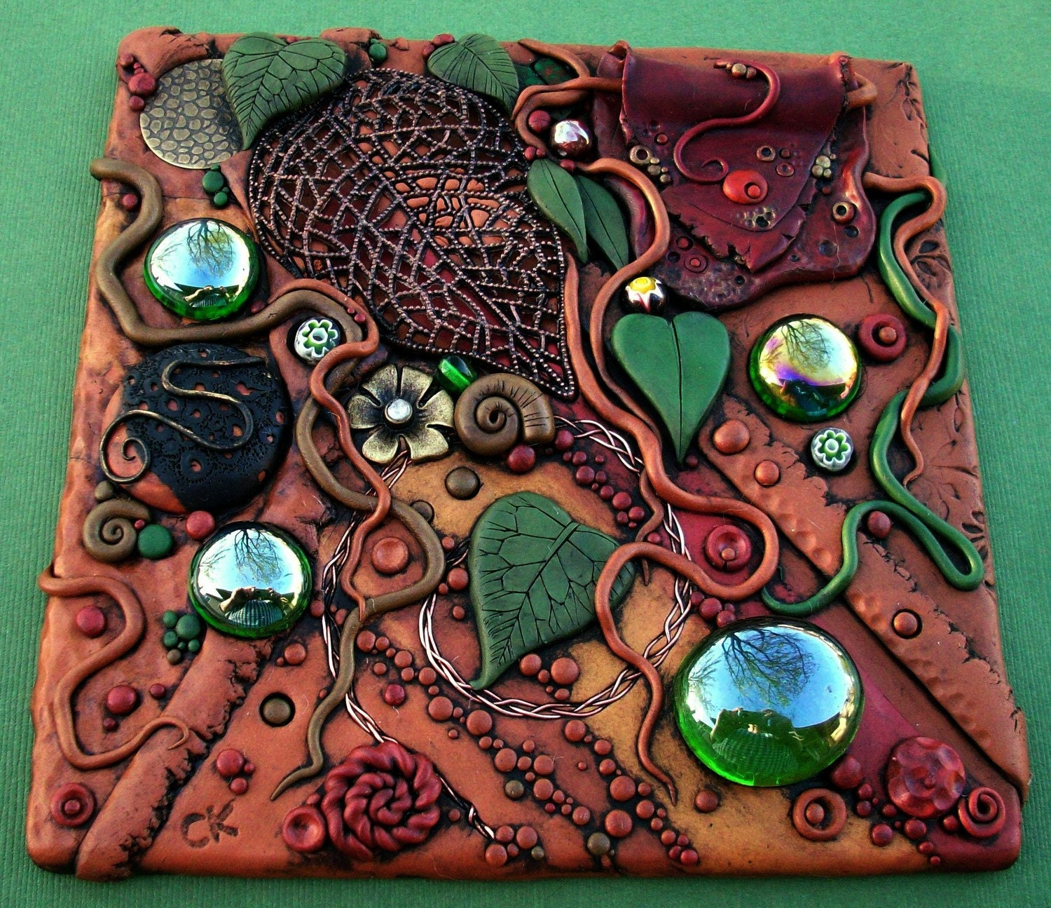 Mosaic Art Tile, Polymer clay, Found Objects, Original