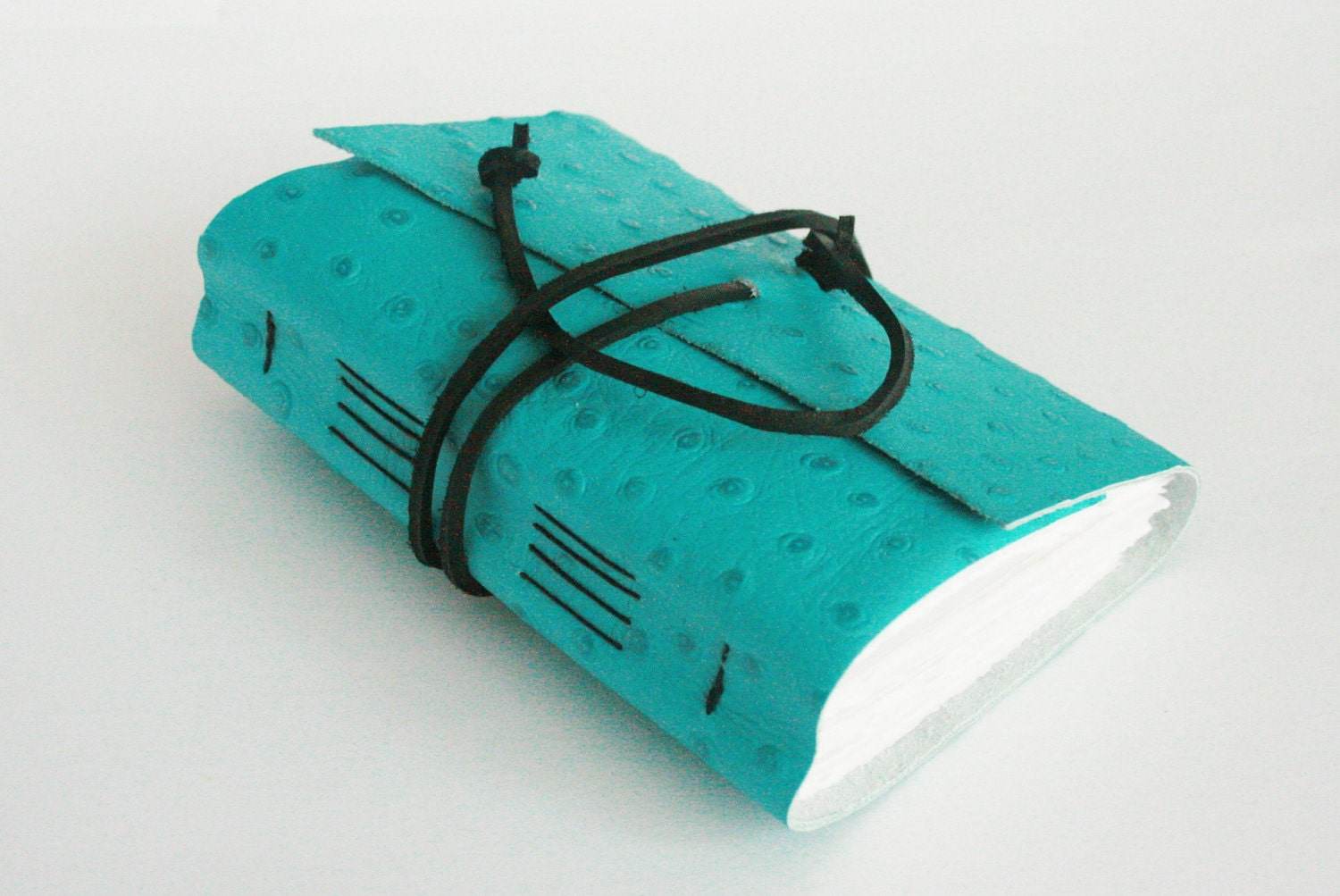 Leather Journal, Embossed Turquoise, Hand-Bound 4.5 x 6 Journal by The Orange Windmill on Etsy