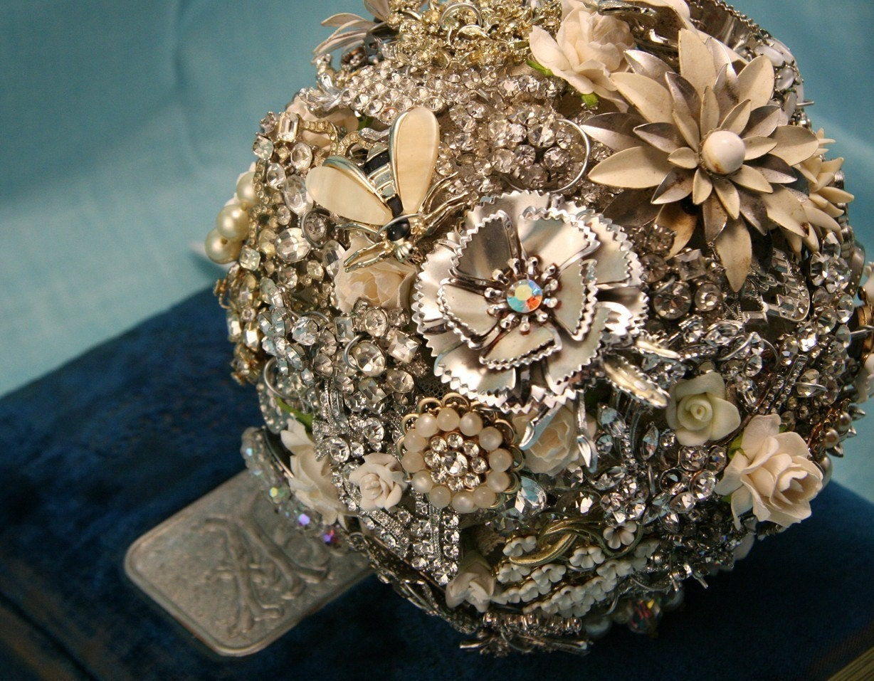 Rhinestone Art Deco Bouquet - Over The Top Rhinestone & Pearls - Custom Made for you To Order