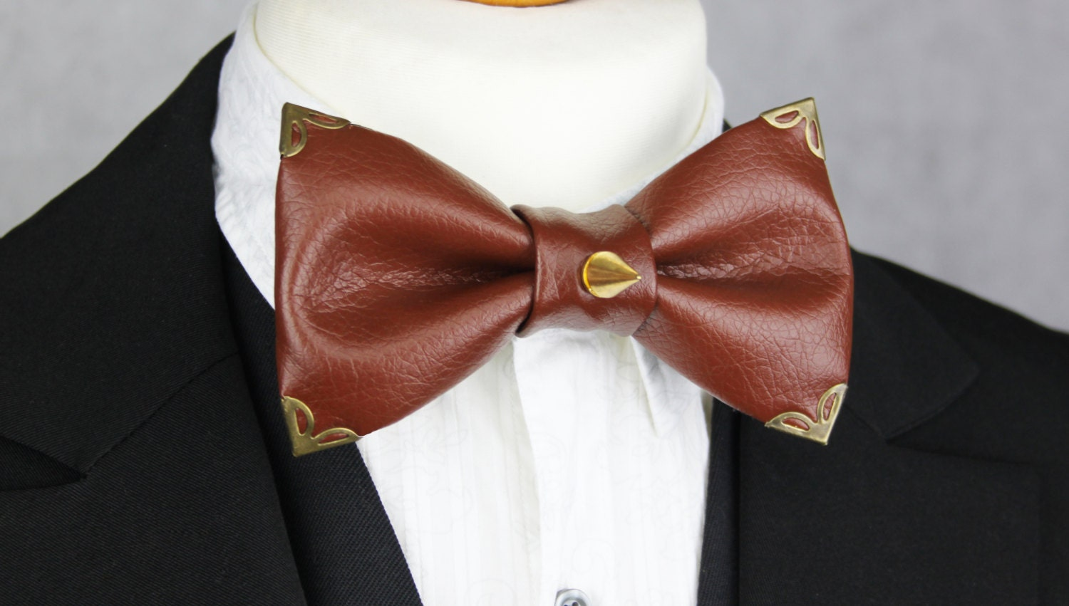 Tan Leather With Gold  Brass Metal Hardware Bow Tie