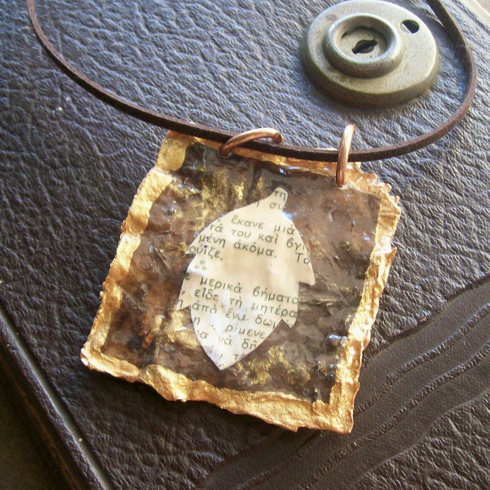 Square pendant with leaf