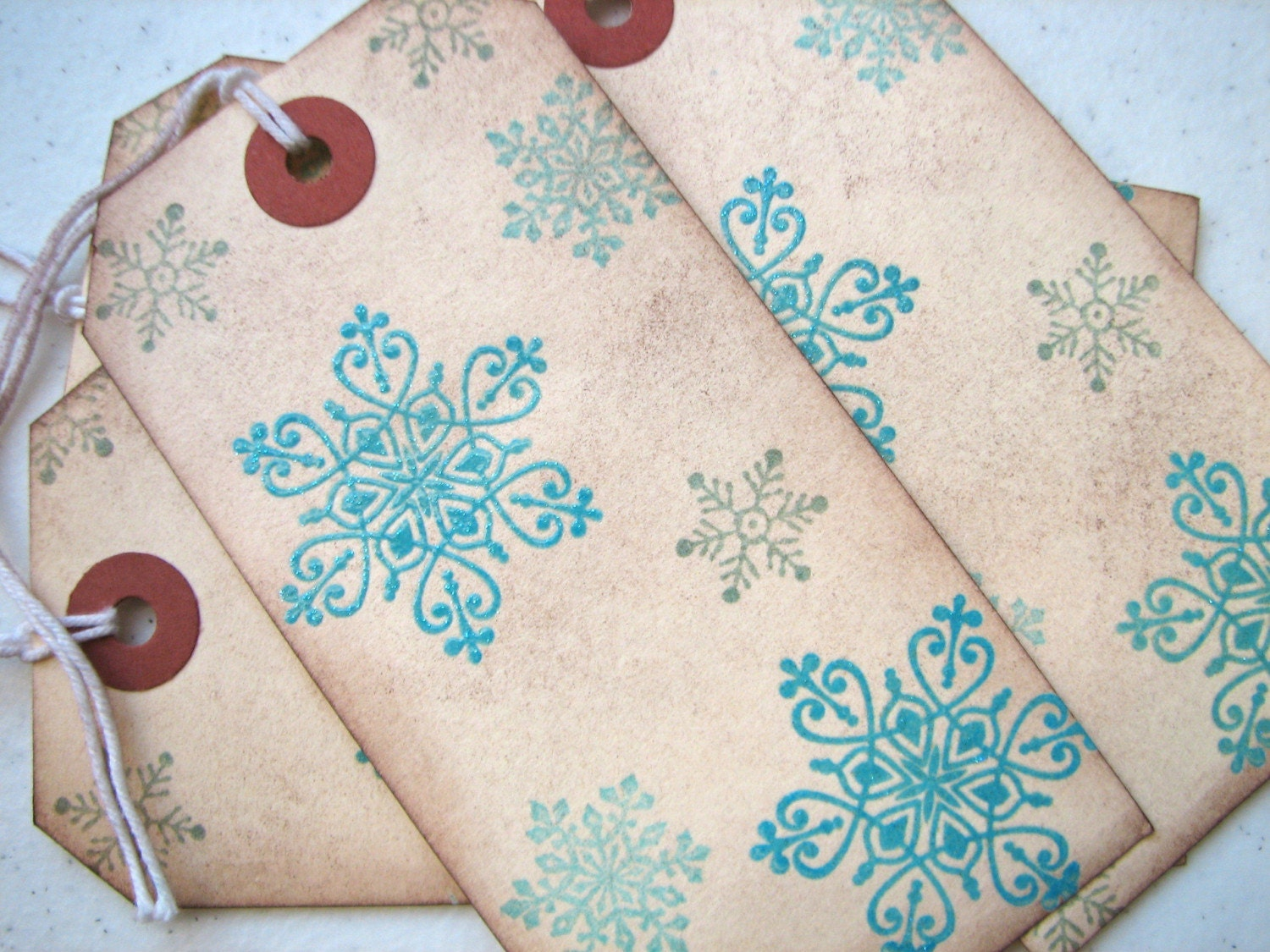 Aqua turquoise and green sparkling snowflake holiday gift tags