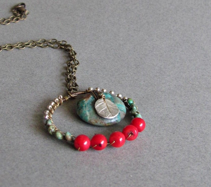 Southwestern Turquoise and Coral Wire Wrapped Necklace