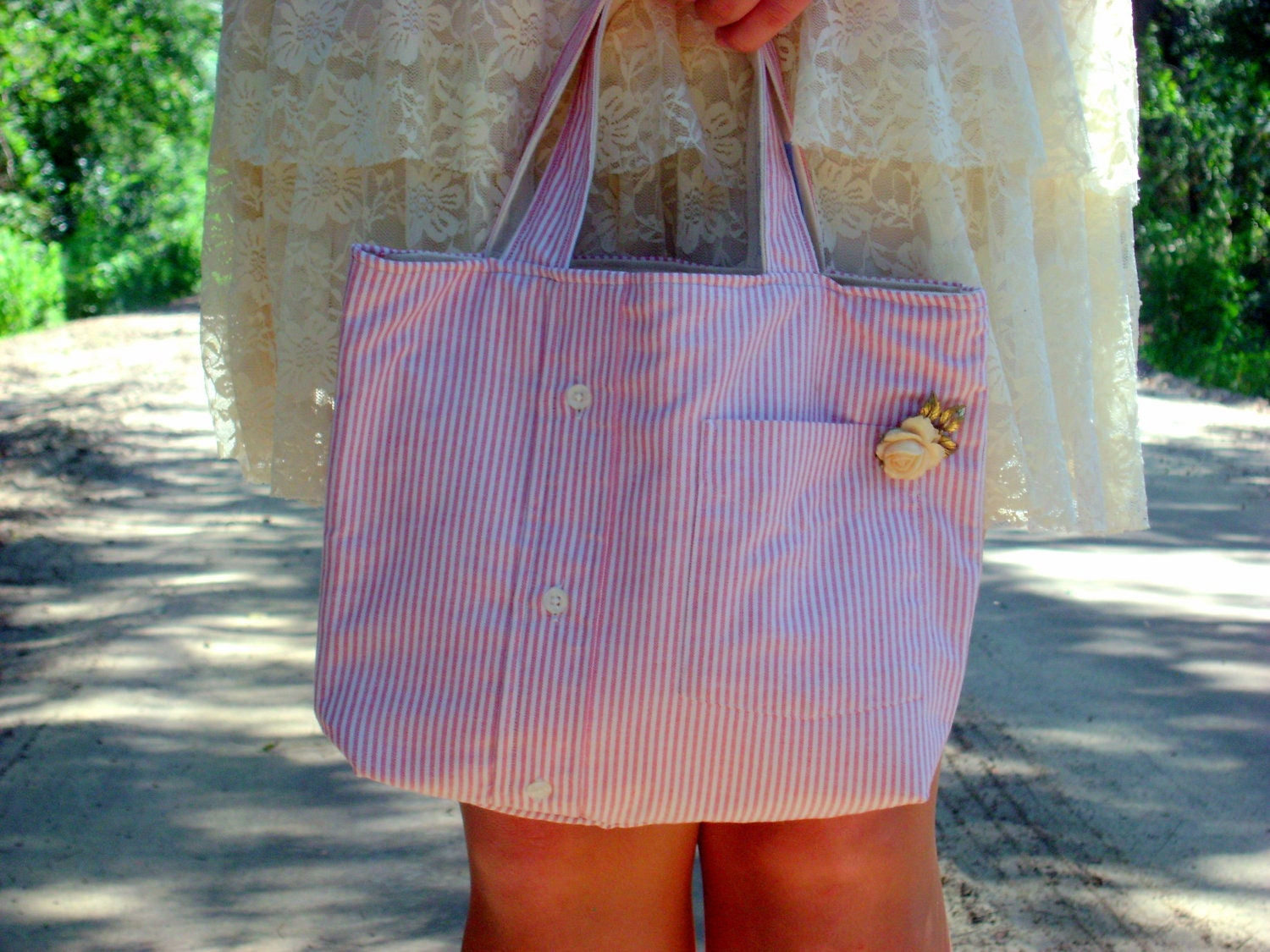 Pink and White Seersucker Shirt Purse with Vintage Broach