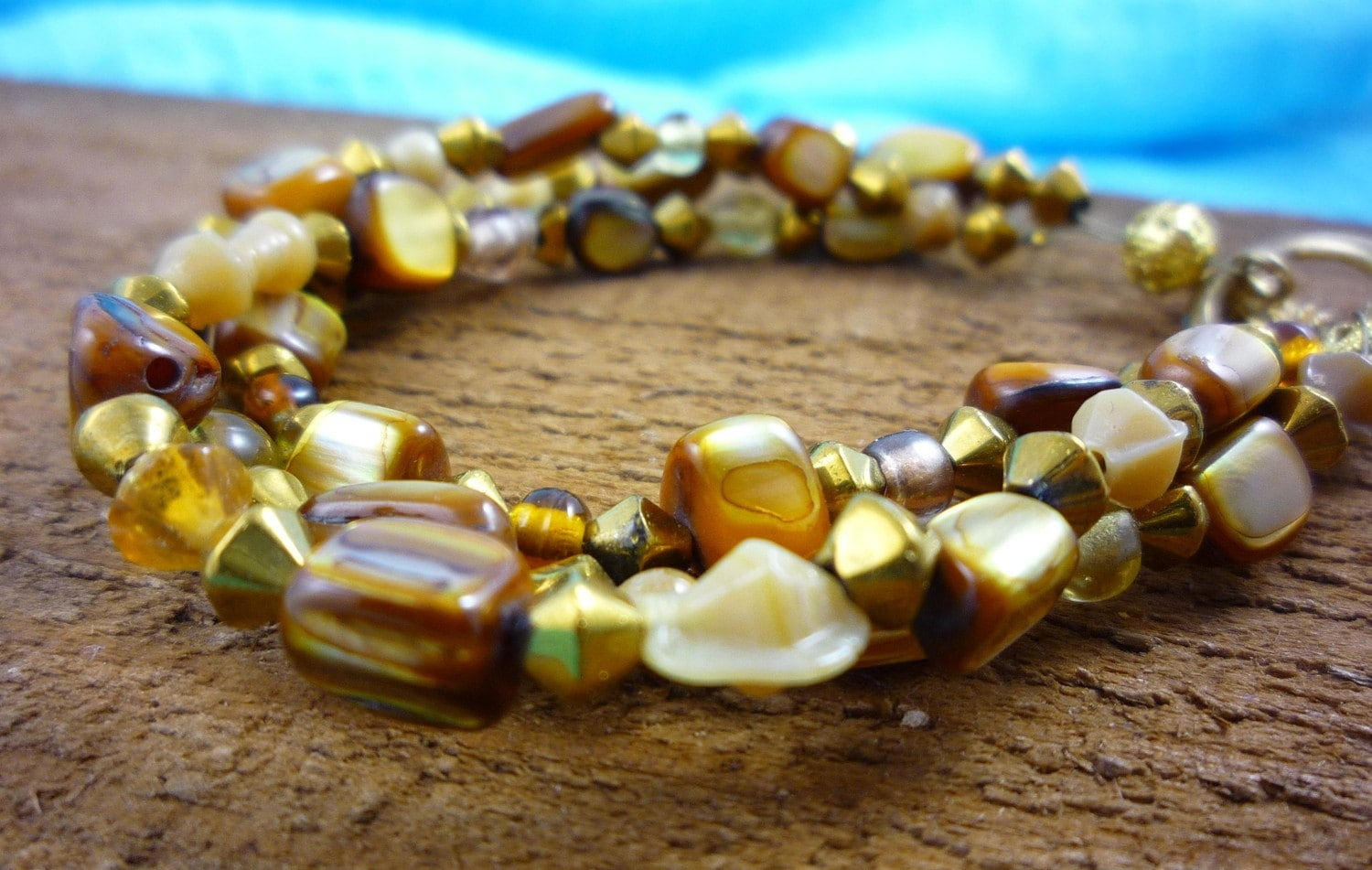Gold and Brown Beaded Shell Bracelet