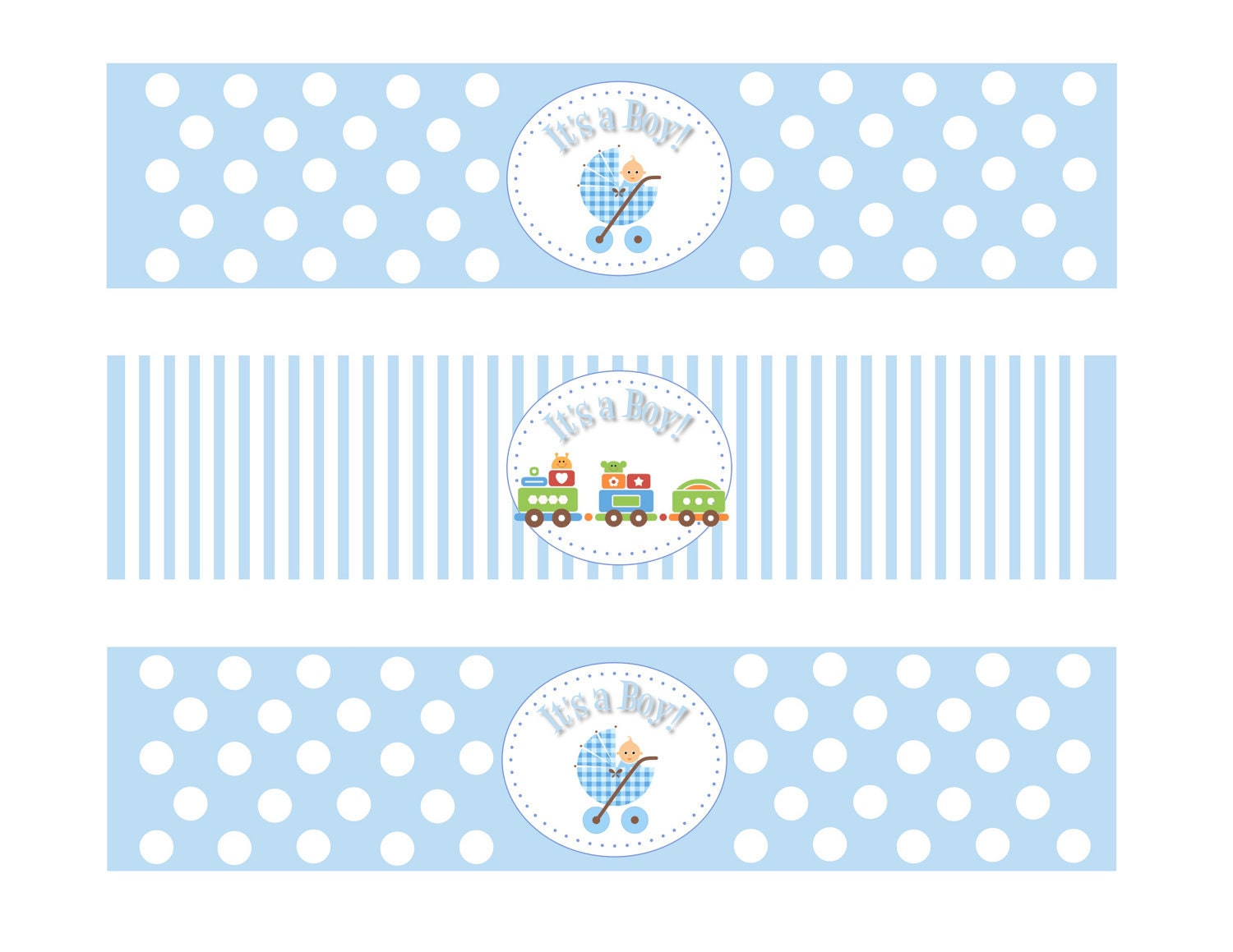 Printable Baby Shower Boy Theme Water Bottle Labels