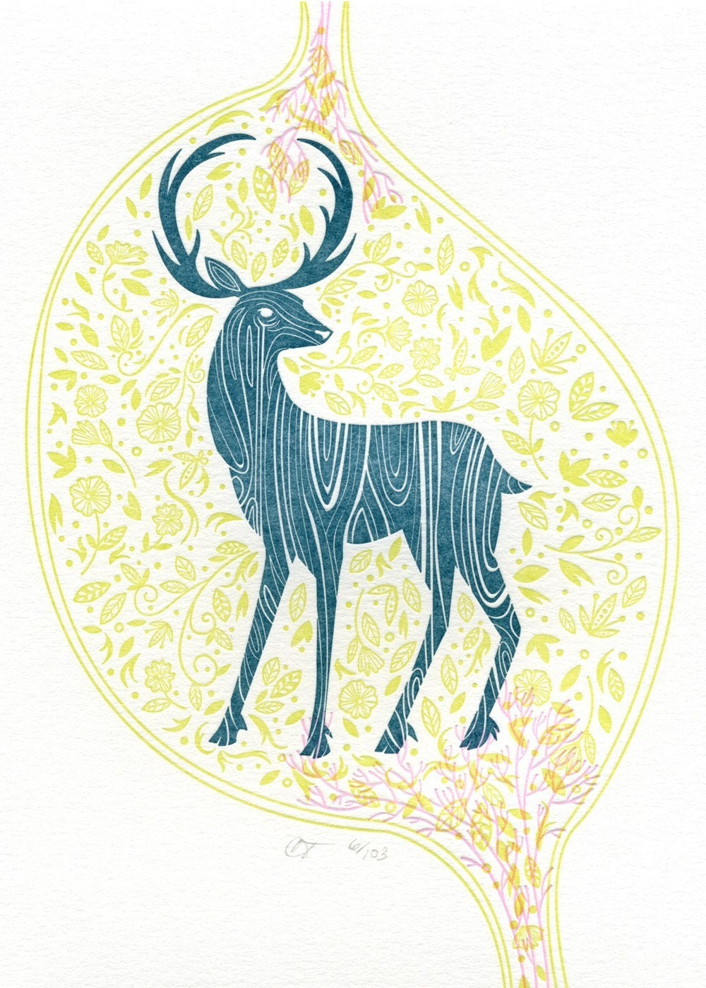 Deer Print on White Lettra