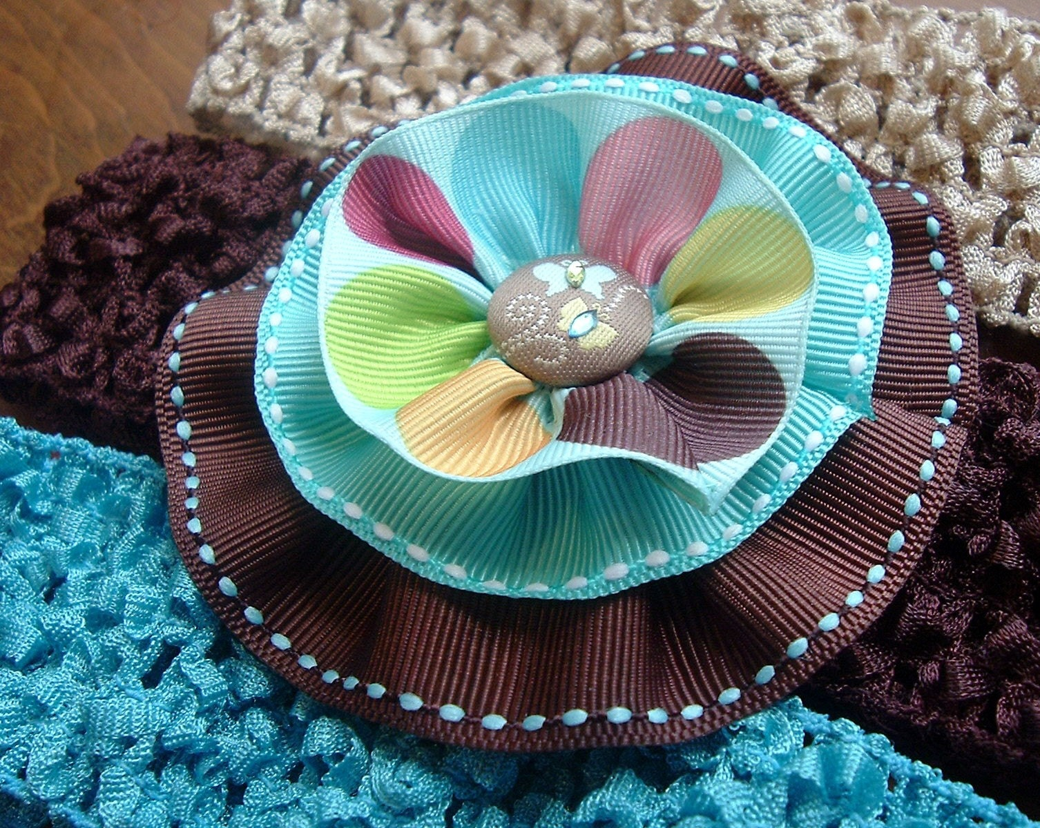 Turquoise and Chocolate Ruffle Bow Headband Set - You PICK Your Headband Color - Infant, Little Girl Butterfly Ruffle Bow Headband Set