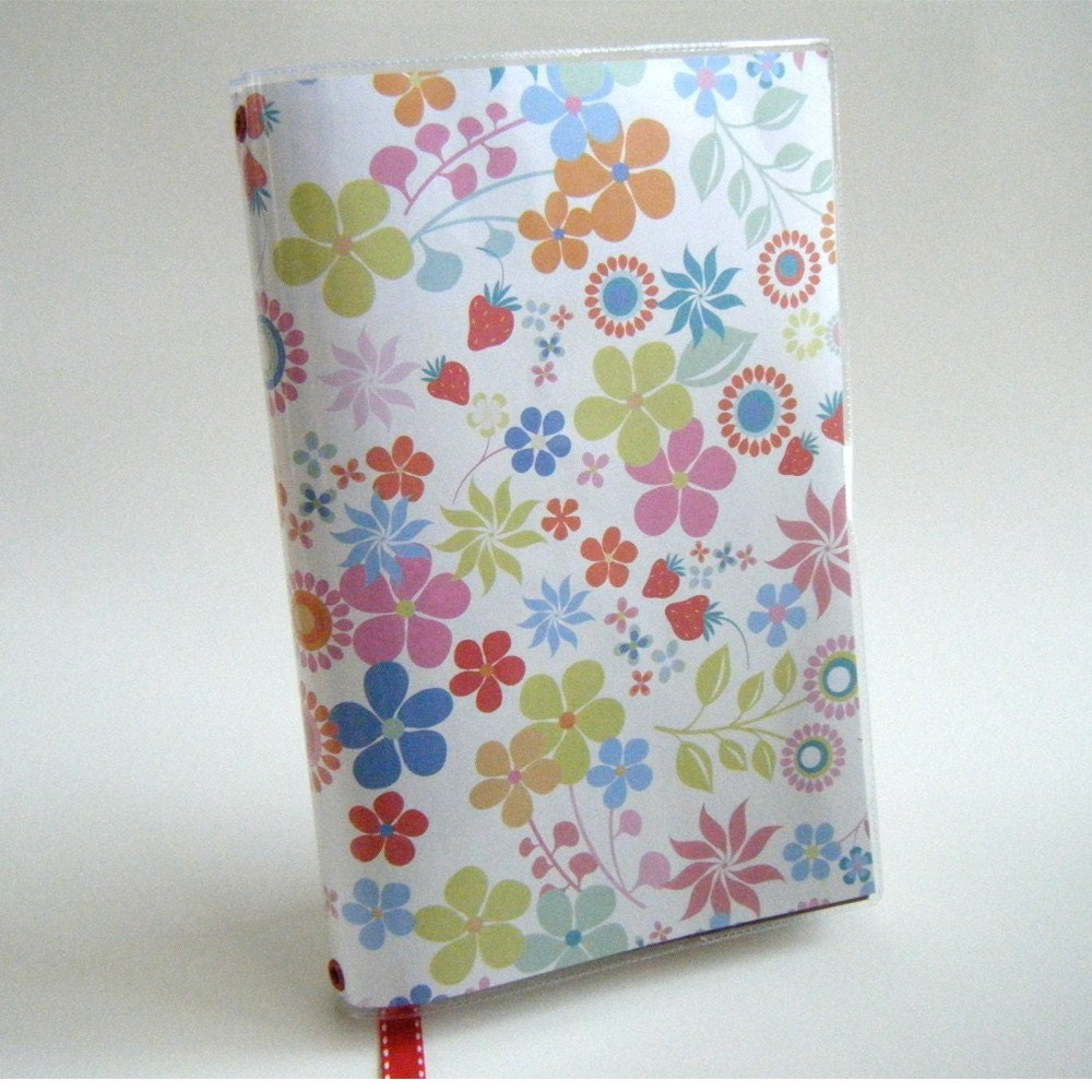 Strawberry and Floral Book Cover with Ribbon Bookmark - LARGE Trade Paperback Size