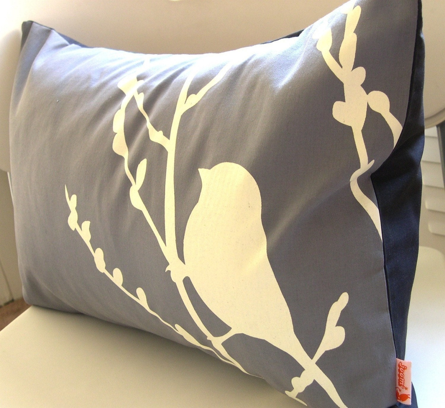 Slate Bird on Cherry Blossom Pillow