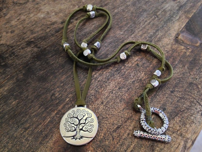 """Bohemian Leather Necklace with Silver Tree Pendant """"Beach Chic"""" - TwoSilverSisters"""