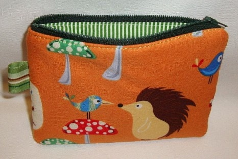 Hedgehog and Birdie Zippered Pouch  Orange by WolfBait on Etsy