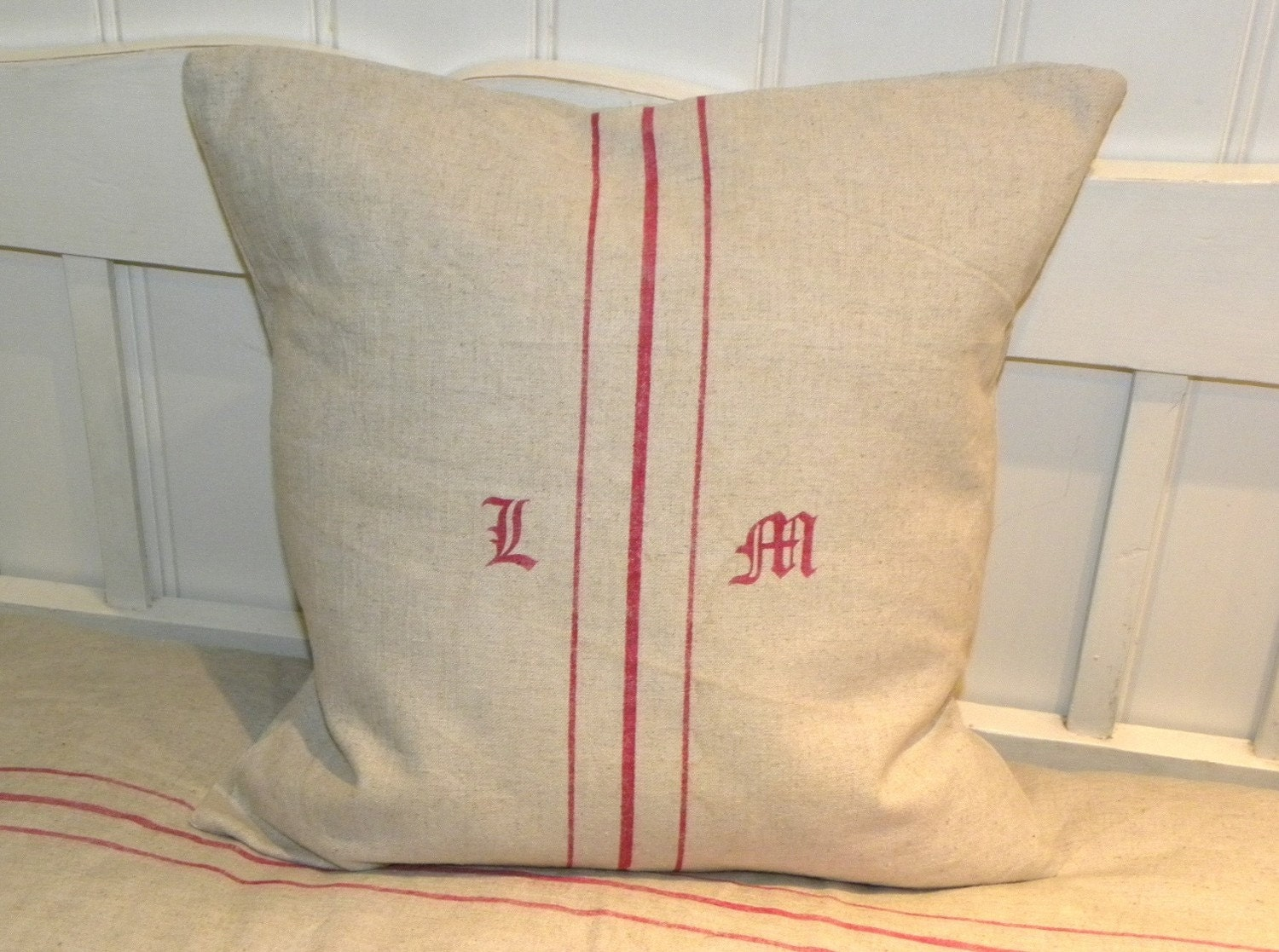 Custom personalized fake grain sack monogramme pillow cushion
