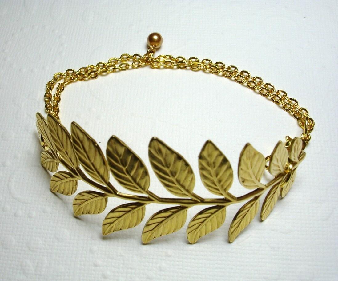 15% Summer Sale Golden Brass Leaf Branch Bracelet Swarovski Pearl