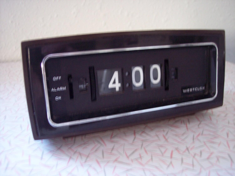 vintage westclox flip number alarm clock by retrospectiveresale. Black Bedroom Furniture Sets. Home Design Ideas