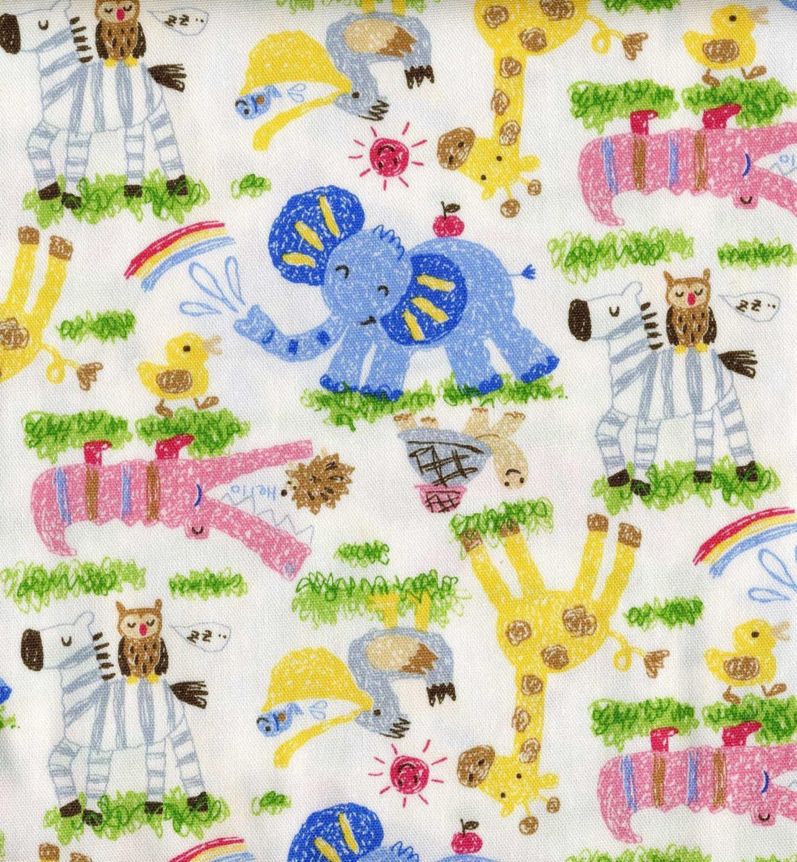 Japanese fabric kids safari scene white by for Kids jungle fabric
