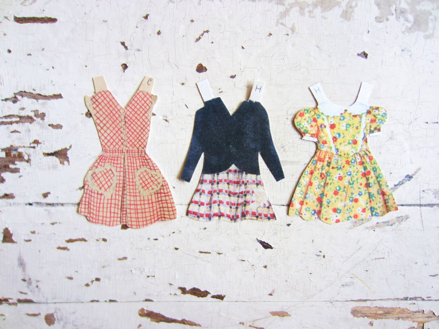 Vintage Paper Doll Fall Dresses for Scrapbooking or Gift Tags - VintageScraps