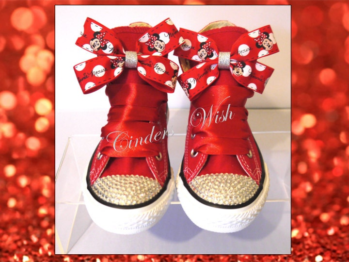 Minnie Mouse Converse  Customised converse  Adult converse  bling toe converse  Red converse