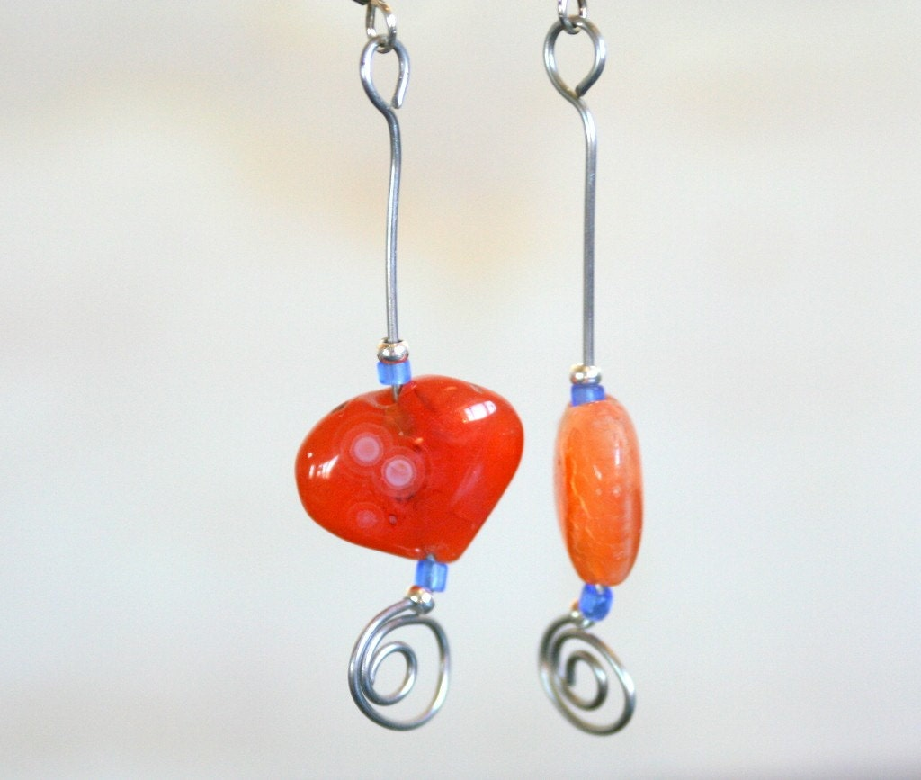 Carnelian Heart Dangle Earrings