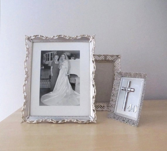 silver metal photo frames vintage wedding portrait display winter