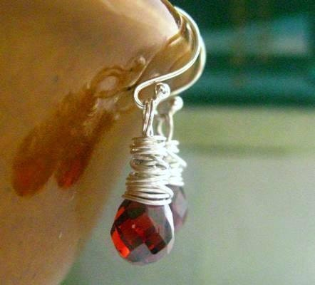 Red Garnet Earrings.  Sterling Silver. Wire-Wrapped Teardrop Gemstones. Strawberry Wine