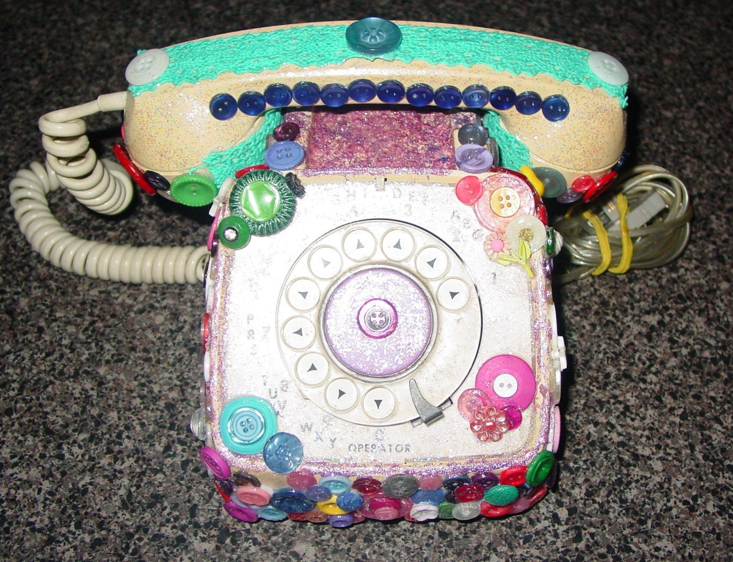 recycled vintage dial button phone by M. Reinke.
