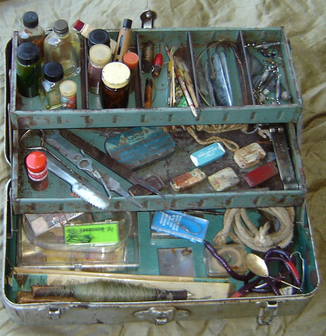VINTAGE FISHING TACKLE BOX WITH LOTS OF FOUND OBJECTS, PERFECT FOR ALTERED ART, MIXED MEDIA OR ASSEMBLAGE PROJECT