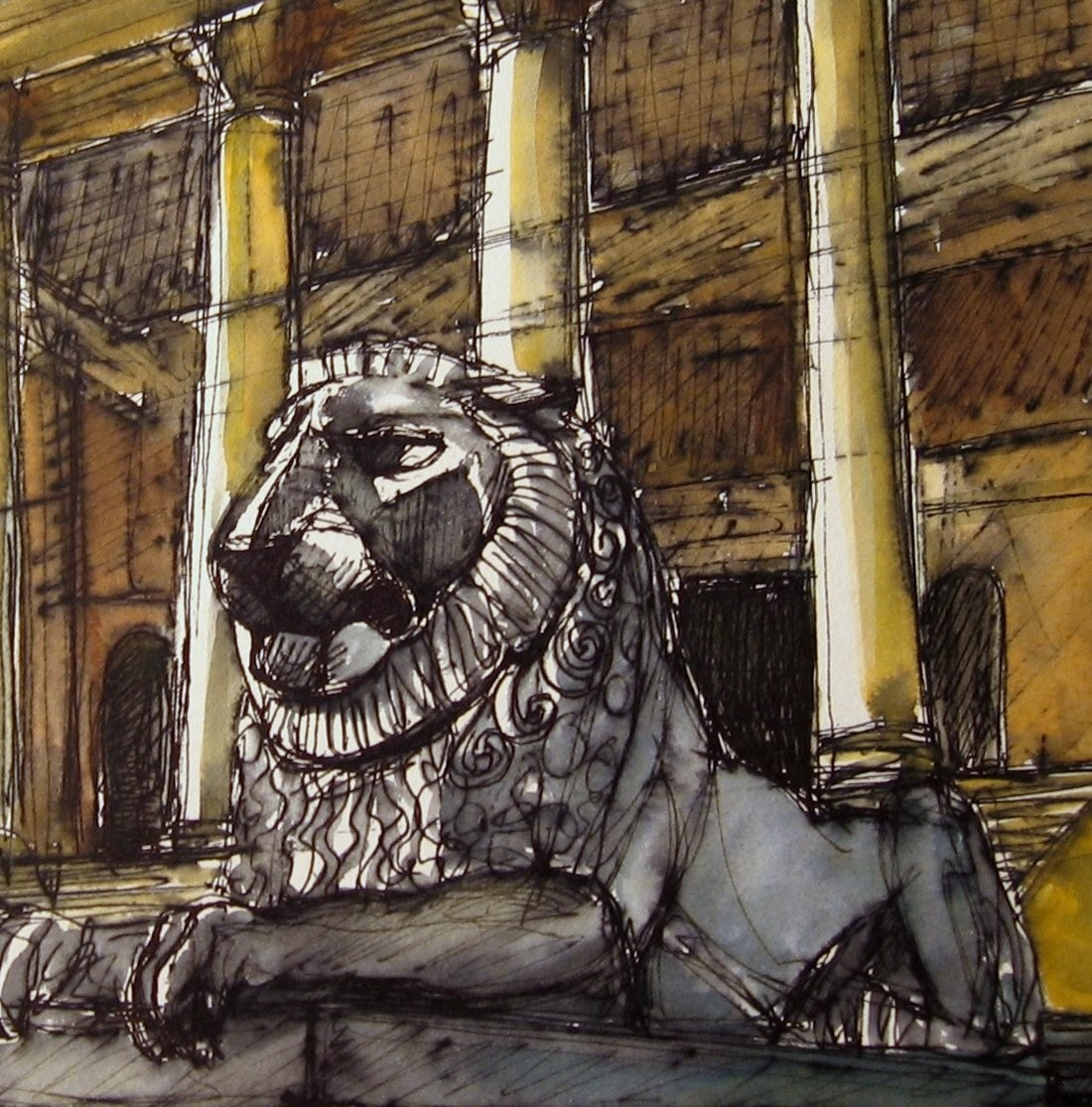 Lion at Stowe - Original Watercolour