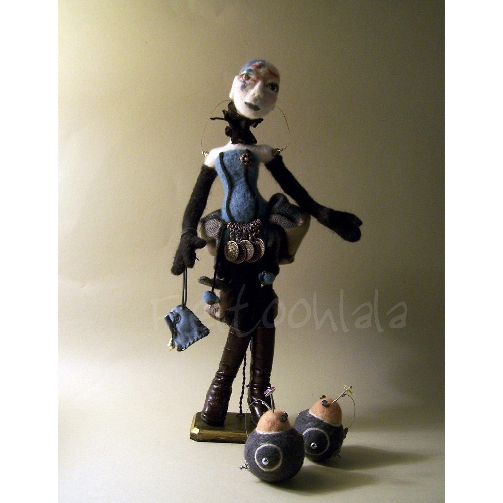BLUE, Steampunk needle felted doll